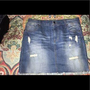 Mossimo Distressed Denim Skirt